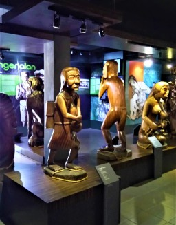 Exhibits of the traditional wood carvings of the Orang Asli. Most of these wood carvings depict spirits of the Orang Asli world. (photo credit : Shah Said ; @ all rights reserved)