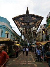 Kasturi Walk, adjacent to the Pasar Seni. The metallic structure adorning the Walk is based on the Wau Bulan, a well known kite form from the state of Kelantan. (photo credit : Shah Said ; @ all rights reserved)
